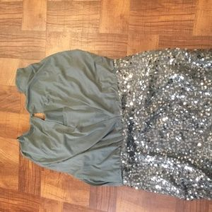 Gray and Silver Sequin Cocktail Dress